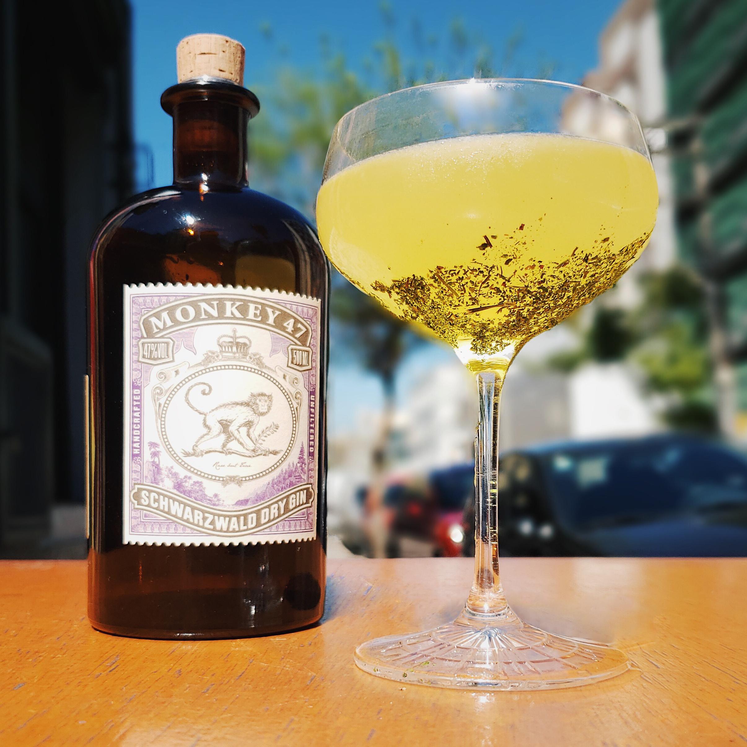 drink farrapo ao lado de garrafa do monkey 57 gin