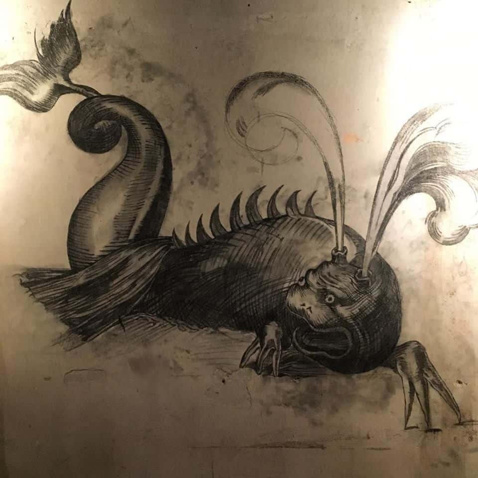 gravura de mostro marinho na parede do florería atlántico em buenos aires