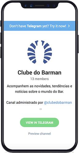 smartphone mostrando canal do clube do tleegram