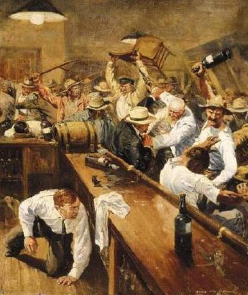 pintura retratando brigas nos saloons americanos
