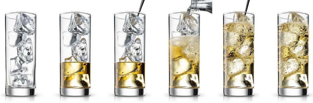 passos da preparação dos drinks highballs